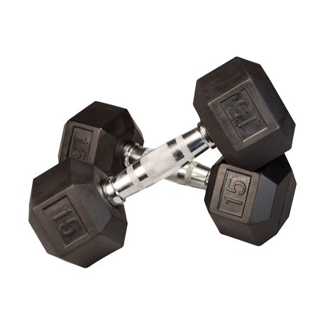 15 lb Rubber Coated Hex Dumbbell