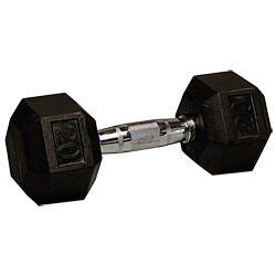 20 lb Rubber Coated Hex Dumbbell