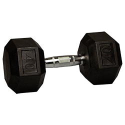40 lb Rubber Coated Hex Dumbbell