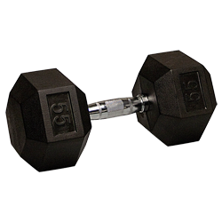 55 lb Rubber Coated Hex Dumbbell