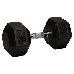 65 lb Rubber Coated Hex Dumbbell