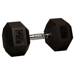 75 lb Rubber Coated Hex Dumbbell