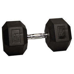 85 lb Rubber Coated Hex Dumbbell