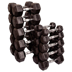 Body-Solid Rubber Coated Hex Dumbbells Sets - 55 to 75 Lb.
