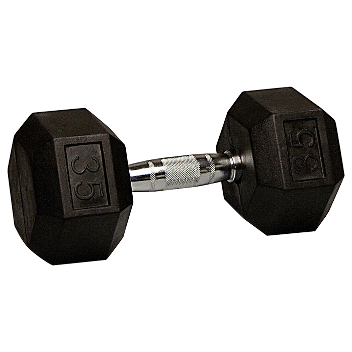 35 lb Rubber Coated Hex Dumbbell