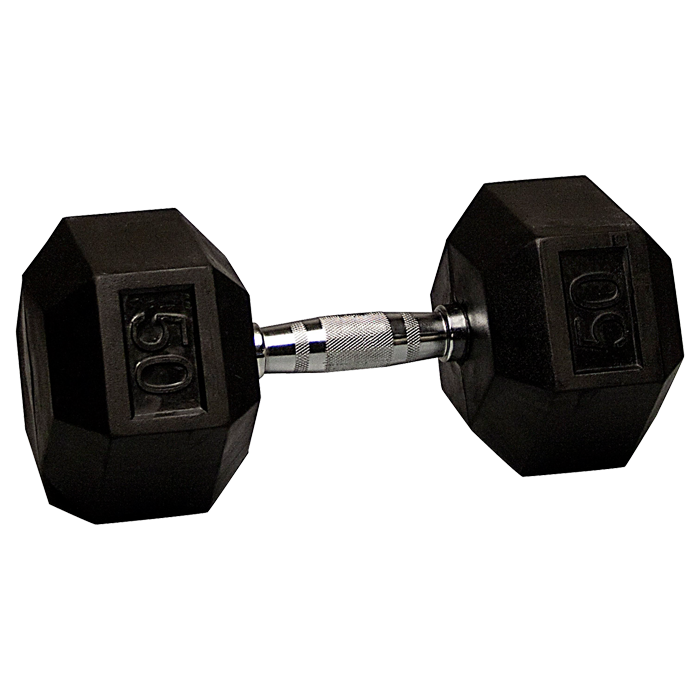 50 lb Rubber Coated Hex Dumbbell