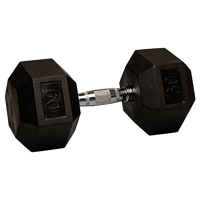 60 lb Rubber Coated Hex Dumbbell