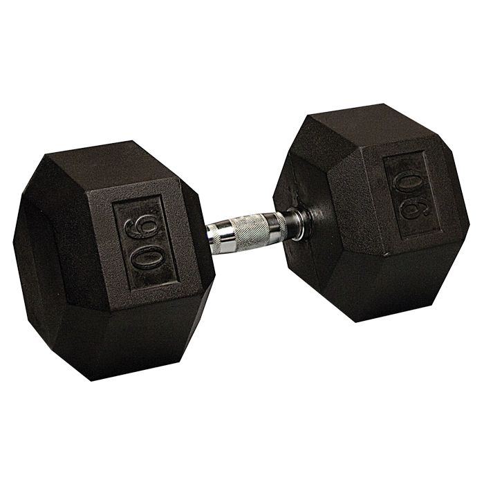 90 lb Rubber Coated Hex Dumbbell