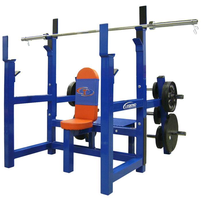 Legend Olympic Shoulder Bench with Plate Storage