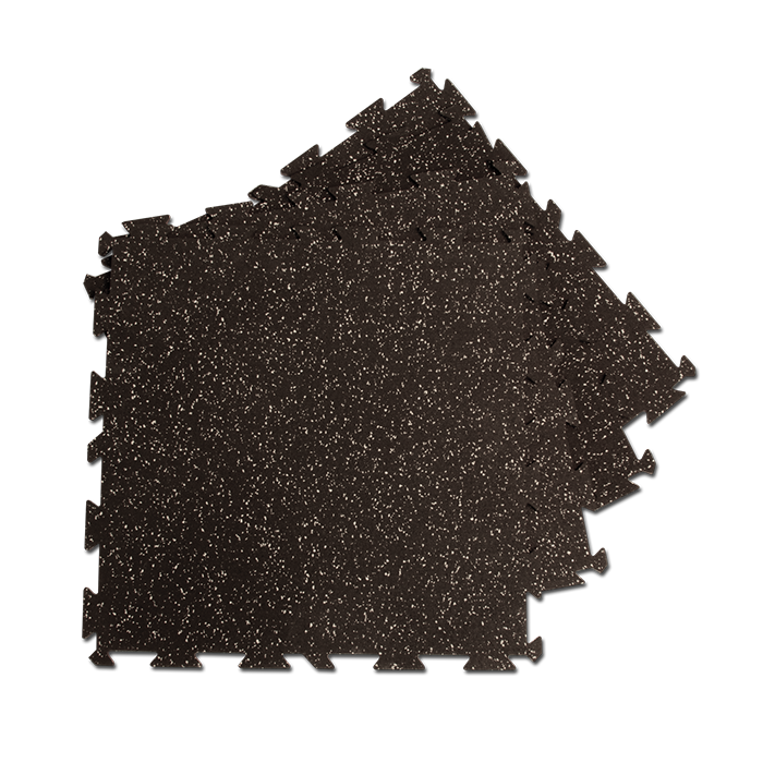 Body-Solid Interlocking Rubber Flooring - Black w/ Gray Specs
