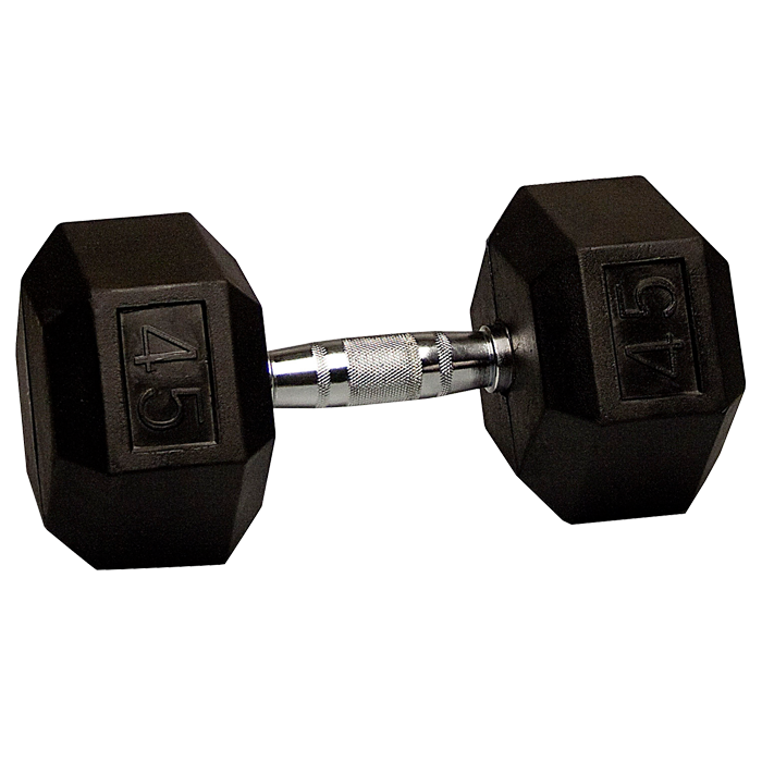 45 lb Rubber Coated Hex Dumbbell