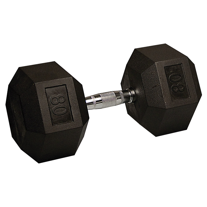 80 lb Rubber Coated Hex Dumbbell