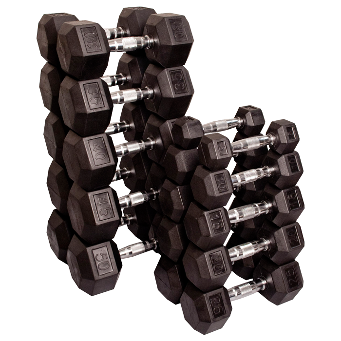 Body-Solid Rubber Coated Hex Dumbbells Sets - 5 to 50 Lb.