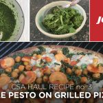 CSA recipe haul kale pesto grilled flatbread pizza
